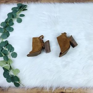 Lucky Brand | Camel Heeled Fringe Booties, Size 7M